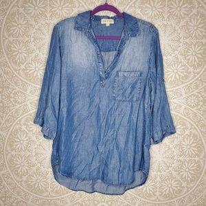 Cloth & Stone Lyocell Blue Chambray Tunic L